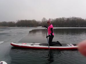 Paddleboarding at Bray Lake in the ice